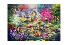 East Urban Home 'Cottage Pond' Painting Print on Canvas Size: Pond Painting, Painting Prints, Wall Art Prints, Canvas Prints, Canvas Frame, Canvas Wall Art, Canvas Size, Fox Collection, Fun Crafts To Do