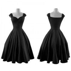 vestido de noche vendimia elegante dulce princesa Style vestido bomba del cuello del barco slim Fit oscilación grande Pure color sin mangas falda plisada negro