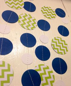 Lime green and navy blue chevron Paper Garland Birthday Party Decor, Baby Shower Decor, Nursery Decoration with Navy Blue Accents on Etsy, $7.00