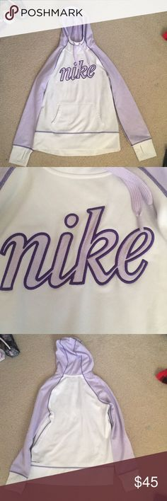 Nike sweatshirt Worn 6 times, if that Thermafit Has thumb holes Lavender, purple, and white Nike Tops Sweatshirts & Hoodies