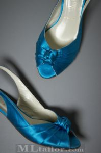 low-heel satin sling backs in the perfect shade of peacock blue