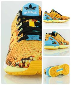 Adidas Wmns ZX FLux // One of the hottest sneakers of 2014 - the Adidas Zx Flux. Women's version with yellow snakeskin print.
