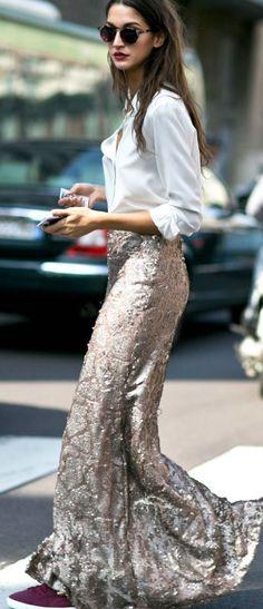 Thefashioneaters Gold Metallic Maxi Skirt Fall Street Style Inspo