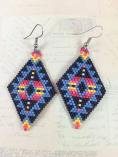 Tribal Miyuki Bead EarringsBrick Stitch EarringsBeadwork by GFMODE