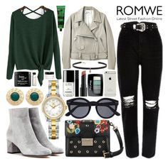 """""""#218 Dark Green T-Shirt-ROMWE"""" by mariana15c ❤ liked on Polyvore featuring Gianvito Rossi, RED Valentino, Acne Studios, Carbon & Hyde, Witchery, TAG Heuer, Chanel, Bare Escentuals, Gucci and BeYu"""