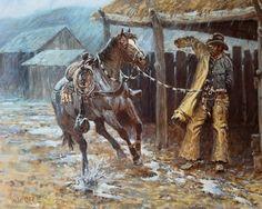 joe beeler art with photos   325: Joe Beeler Framed Western Print : Lot 325