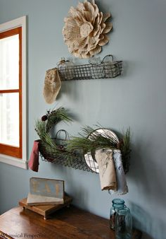 Wire metal basket shelves by Whimsical Perspective featured on Funky Junk Interiors