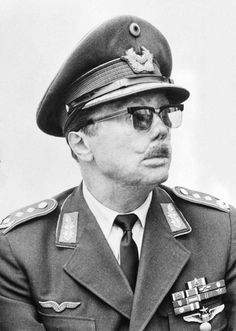 Johannes Steinhoff (1913-1994, seen here in 1966) was a German Luftwaffe fighter ace of World War II, and later a senior West German Air Force officer and military commander of NATO. He played a significant role in rebuilding the postwar Luftwaffe, serving as Chief of Staff and then as Chair of NATO's Military Committee. Via the Bundesarchiv