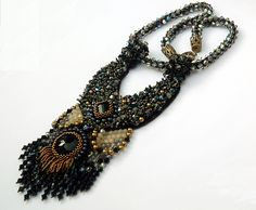 Dark Side of the Moon Bead Embroidery Necklace