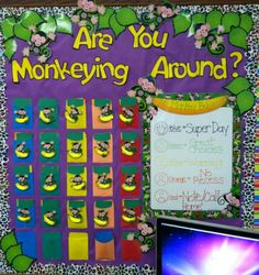 Cute monkey Classroom Management for kaitlyns room Jungle Theme Classroom, Classroom Bulletin Boards, Classroom Behavior, Future Classroom, Classroom Themes, School Classroom, Classroom Activities, Classroom Organization, Behavior Board