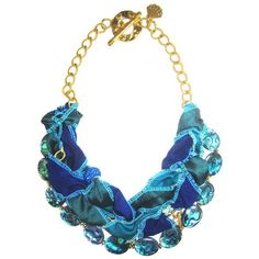Sari Silk Blue Lagoon Abalone Bib Necklace mashu mashu Unique designer... ❤ liked on Polyvore