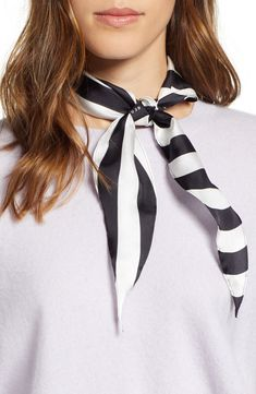 Women's Rebecca Minkoff Gerber Stripe Diamond Scarf, Size One Size - Black Cool Braids, Nordstrom Beauty, Prom Looks, Cute Bows, Scarf Hairstyles, Spring Trends, Neck Scarves, Outfit Posts, Looking For Women