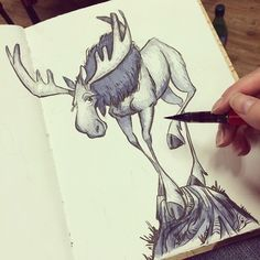 #moose #sketchbook #sketch #onehourdrawing #jetpens #tombow