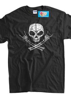 Rock Skull Crossbones Tshirt TShirt Tee Shirt Mens by IceCreamTees, $14.99