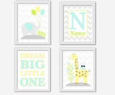 Baby Boy Nursery Wall Art Elephant Giraffe Yellow Aqua Blue Teal Lime Green Dream Big Personalize Name Baby Nursery Decor Safari Jungle Art
