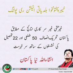 خیبر پختونخوا بلدیاتی الیکشن ری پولنگ غیر حتمی غیر سرکاری نتائج کے مطابق پاکستان تحریک انصاف 50 ضلعی اور 22 تحصیل کی نشستوں کے ساتھ سر فہرست #KpkLocalGovt