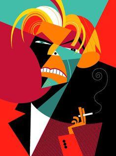 David Bowie dibujo de Pablo Lobato (drawing by)