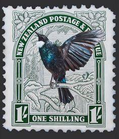Tui Stamp by Jane Crisp - notecards Vintage Tin Signs, Maori Designs, New Zealand Art, Nz Art, Old Stamps, Postage Stamp Art, Art Diary, Kiwiana, Fauna