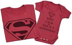 97e5b04224c29 Keep Calm Dad Is A Super Hero - Ensemble Père Bébé Cadeau - Hommes T-shirt    Body bébé - Gris - XX-Large   18-24 mois  Amazon.fr  Vêtements et  accessoires