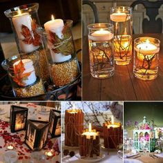 I love the cinnamon stick candle holders // Creative Centerpiece Ideas for Weddings Wine Glass Centerpieces, Wedding Centerpieces, Diy Candles, Pillar Candles, Candels, Fall Candles, Ideas Candles, Fall Crafts, Diy And Crafts