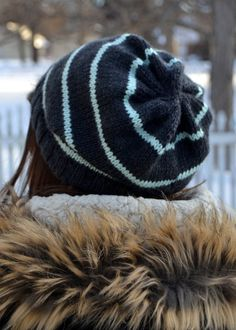 Knit Slouch Beanie Striped Hat Hand Knit in by Gone2Pieces on Etsy