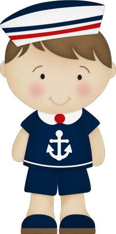 Menino Marinheiro Azul e Vermelho - Kit Completo com molduras para convites…
