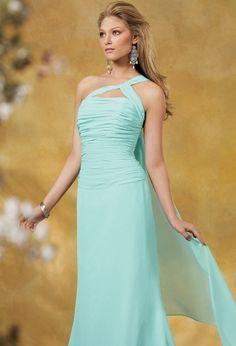 One-Shoulder Floor-Length Chiffon Charmeuse Bridesmaid Dresses