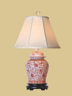 Porcelain oriental table lamp foter lampen pinterest east enterprises oriental coral temple porcelain jar oriental table lamp with orange finish orange mozeypictures Image collections