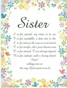 26 Friends Like Sisters Quotes Prayers For Sister, Sister Poems, Wishes For Sister, Love My Sister, Sister Prayer, Poems For Sisters, Brother Sister, Sister Cards, Funny Sister