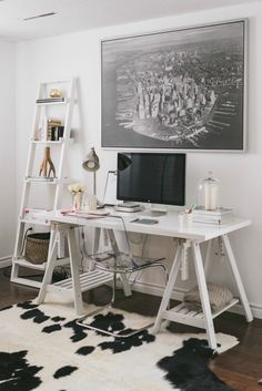 Quentin & Co's Home Tour features feminine details, white decor and the sweetest closet you ever did see! Workspace Inspiration, Room Inspiration, Wedding Inspiration, Home Office Design, Home Office Decor, Feminine Home Offices, Home Office Furniture, Room Decor, White Decor