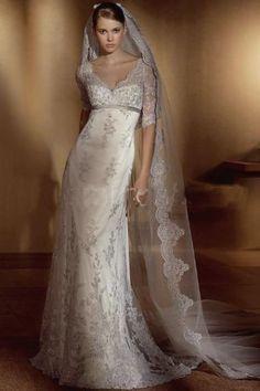Traje de estilo corte imperio, ideal para una novia tradicional