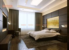 Your bed chamber must reflect rest and calm. The lighting, design and layout must be inviting – a false ceiling adds just the right elements to a boudoir taki Bedroom Ceiling, Home Bedroom, Bedroom Decor, Decoration Faux Plafond, Large Beds, Modern Bedroom Design, Decorate Your Room, Awesome Bedrooms, Ceiling Design