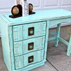 Aqua Blue Vintage Desk/ Brown Glaze by AquaXpressions on Etsy,