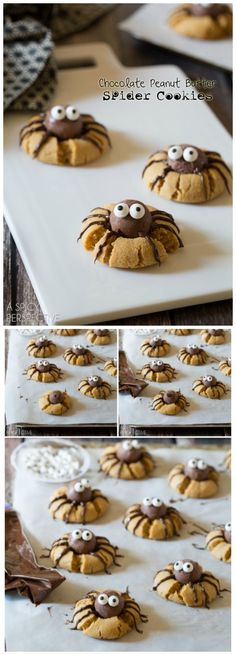 Chocolate Peanut Butter Spider Cookies that are creepy and delightful. These spider cookies are my first Halloween offering this year, so I wanted to make sure to give you a recipe that was frightfully delicious! Use gf ingredients) Halloween Goodies, Halloween Food For Party, Halloween Treats, Halloween Jello Shots, Halloween Baking, Halloween Chocolate, Halloween Desserts, Halloween Costumes, Fall Recipes