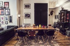 Industrial living space with large dining table in a Manhatten apartment