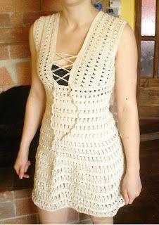 "Crochet Dresses Patterns Cossalina - Crochet Bikini, Handmade Crochet Bikinis, Unique Swimwear by Alinutza Fashion: Crocheted Dress - Jennifer Aniston in ""Just Go with It"" - FINISHED! Vestido Jennifer Aniston, Jenifer Aniston, Crochet Woman, Knit Crochet, Crochet Style, Crochet Tops, Easy Crochet, Dress Patterns, Crochet Patterns"