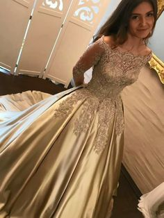 Chic Gold Off Shoulder Long Sleeve Ball Gown Appliques Satin Prom Dress, N1329 #promdressballgown #promdressesforteens