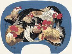 群鶏|葛飾北斎|浮世絵のアダチ版画オンラインストア
