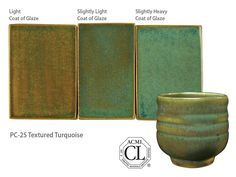 AMACO Potter's Choice commercial glaze. PC-25 Textured Turquoise.