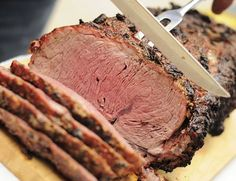 This standing rib roast recipe uses your smoker to produce a flavorful prime rib mixed with a mellow smokiness, an impressive centerpiece to a feast. Rib Recipes, Roast Recipes, Cooking Recipes, Cooking Time, Cooking Corn, Traeger Recipes, Cooking Classes, Recipes Dinner, Meat Recipes