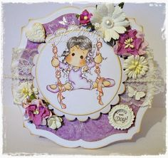 Ribbon Dance Tilda from the new Little Moscow Collection from http://www.magnoliastamps.us/ #cards #crafts