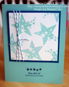 Sprinkled Expressions in Pool Party and Island Indigo. Cute w the baker's twine too