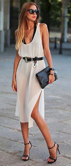 White Plain Shoulder-Strap U-neck Backless Side Slits Chiffon Midi Dress