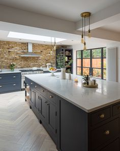 The Shaker Workshop - Handmade, Affordable Shaker Kitchens Small Kitchen Diner, Open Plan Kitchen Living Room, Home Decor Kitchen, Kitchen Interior, Modern Shaker Kitchen, Kitchen Ideas, Exposed Brick Kitchen, Brick Wall Kitchen, Exposed Brick Walls