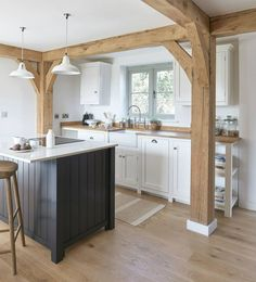 White and Blue Shaker Kitchen Furniture with Oak Framing, another beautiful Border Oak property, kitchen by deVOL