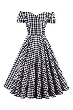 The Atomic Off Shoulder Plaid Swing Dress features a vintage black and white plaid swing dress with an off-shoulder design, sweetheart neckline and a concealed back zipper closure. This dress is perfect for your summer retro look.