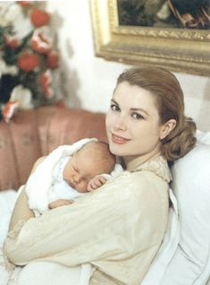 princess Grace with her newborn son prince Albert