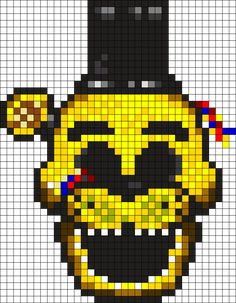 Fnaf Golden Freddy Perler Bead Pattern / Bead Sprite