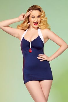 Pinup Couture Bettie Retro Swimsuit in Nautical Navy Blue | Pinup Girl Clothing