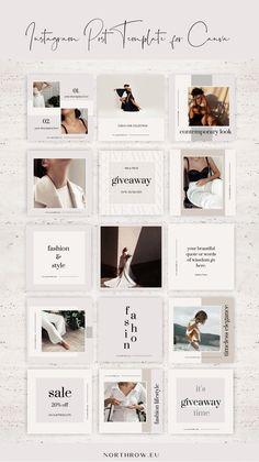 Fashion Marketing Instagram Posts Canva Templates | Personal Stylist, Fashion Blogger Templates
